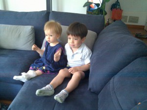TV Radiation is no problem for these two children who are watching at a very safe distance.